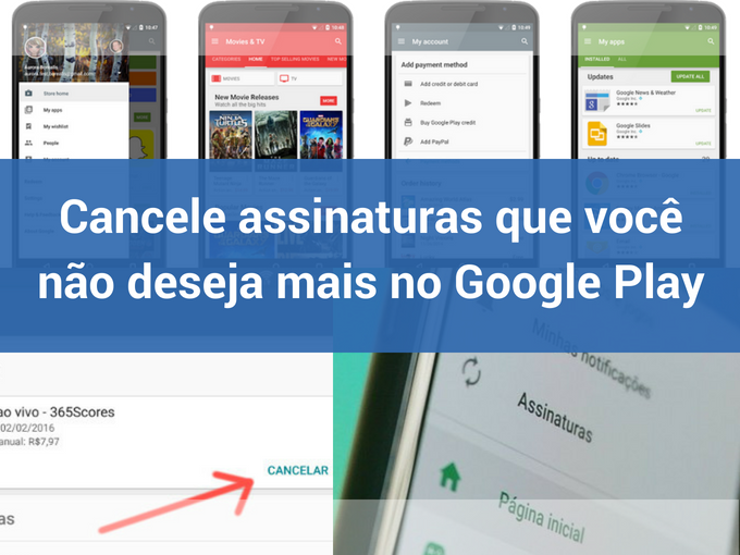 Cancelar assinaturas no Google Play