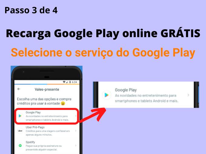 Selecione o serviço do Google Play