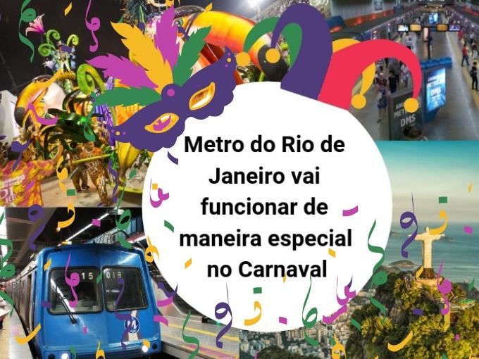 Metro do Rio de Janeiro vai funcionar de maneira especial no Carnaval