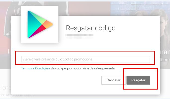 Resgatar códigos da Play Store