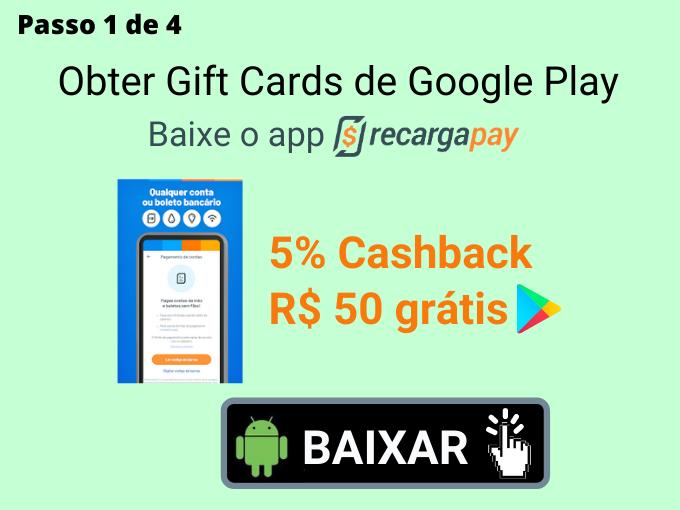 Passo 1 de 4 para Obter Gift Cards de Google Play (1)