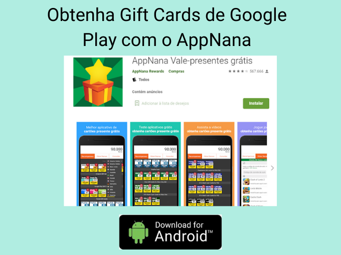 Obtenha Gift Cards de Google Play com o AppNana