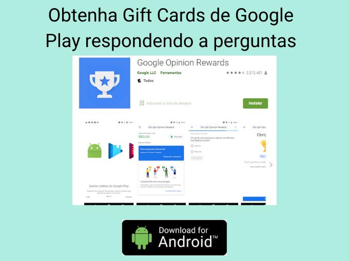 Obtenha Gift Cards de Google Play respondendo a perguntas