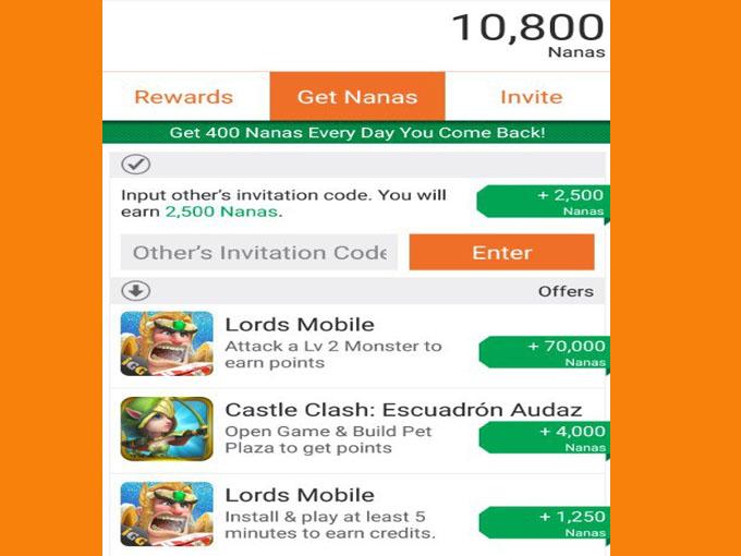 Códigos válidos  google play com app nana