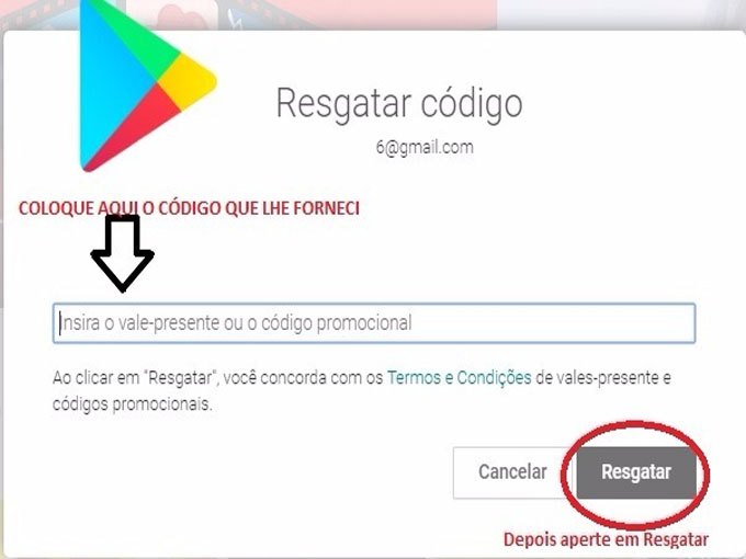 Resgate seus códigos válidos google play