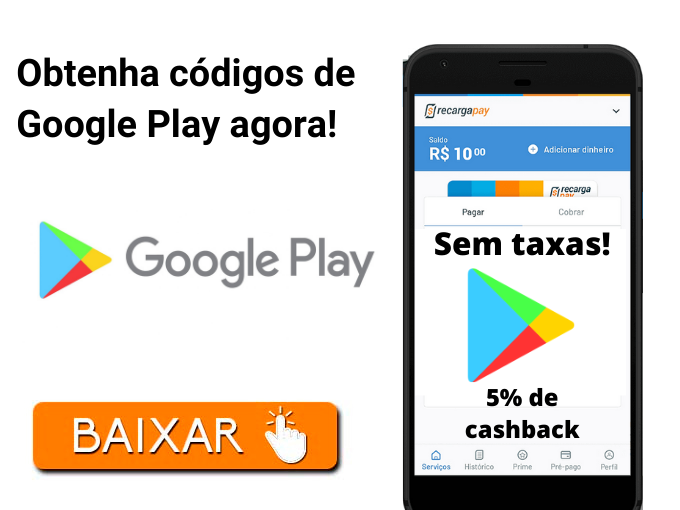 Obtenha códigos de Google Play agora!