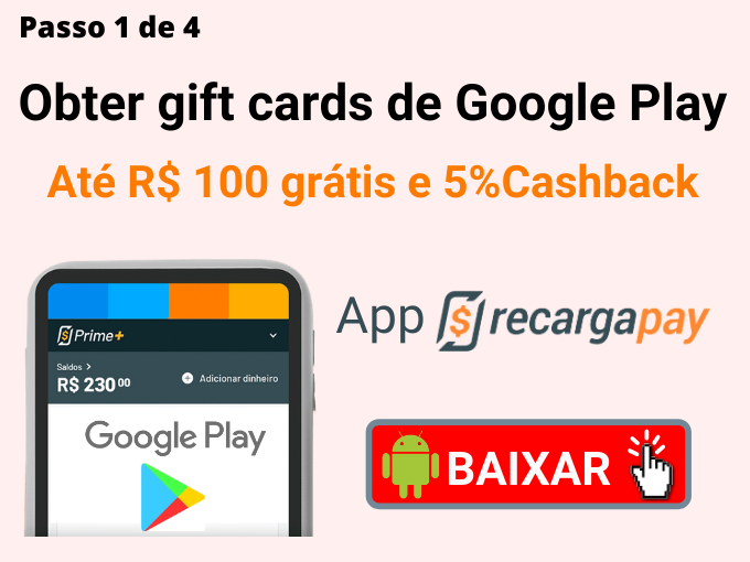 Passo 1 de 4 para Obter gift cards de Google Play