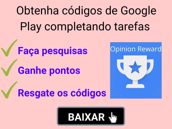 Obtenha códigos de Google Play completando tarefas