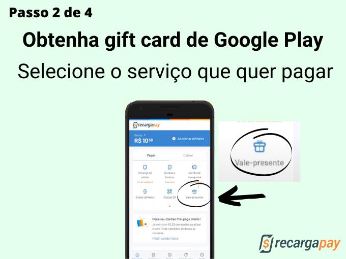 passo 2 de 4 para Obtenha gift card de Google Play