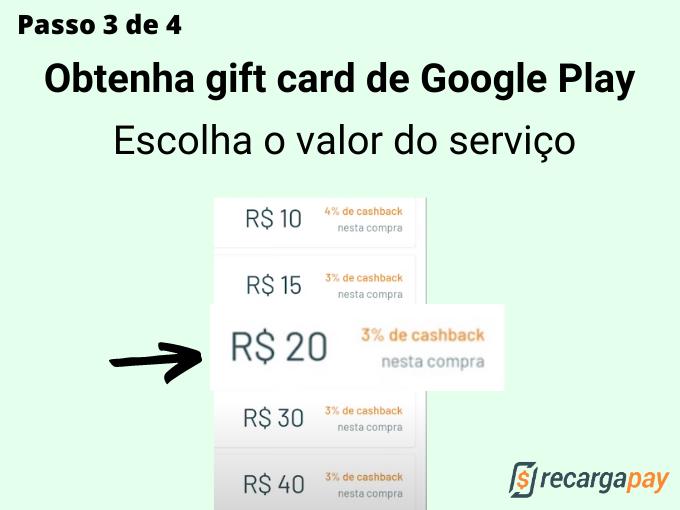 passo 3 de 4 para Obtenha gift card de Google Play